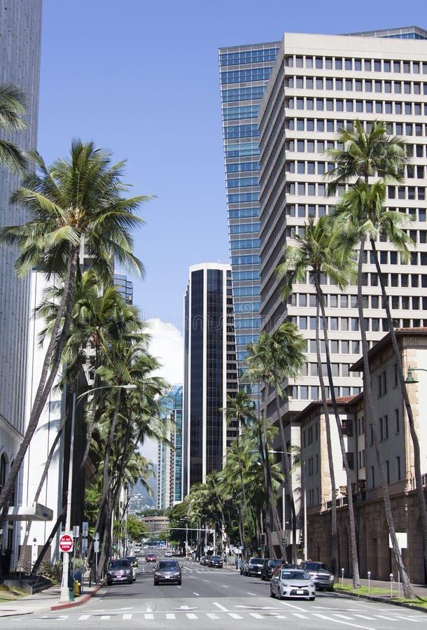 Rua do centro de Honolulu imagem de stock