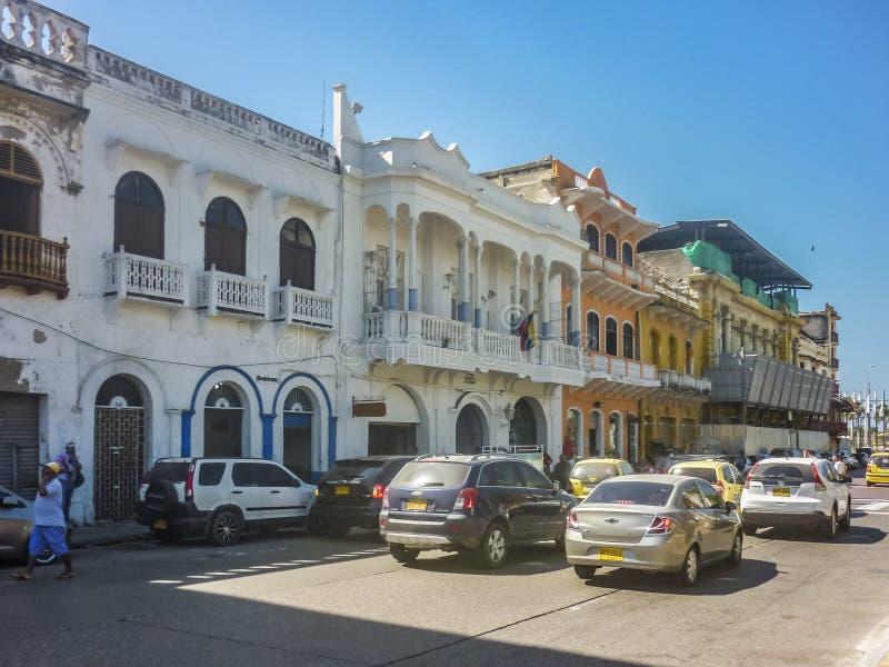 Rua do centro histórico de Cartagena Colômbia imagens de stock royalty free