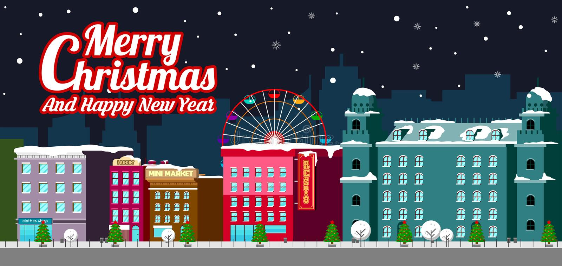 Rua do inverno das casas da construção da cidade com a bandeira horizontal lisa decorada do conceito do ano novo feliz do Feliz N ilustração stock