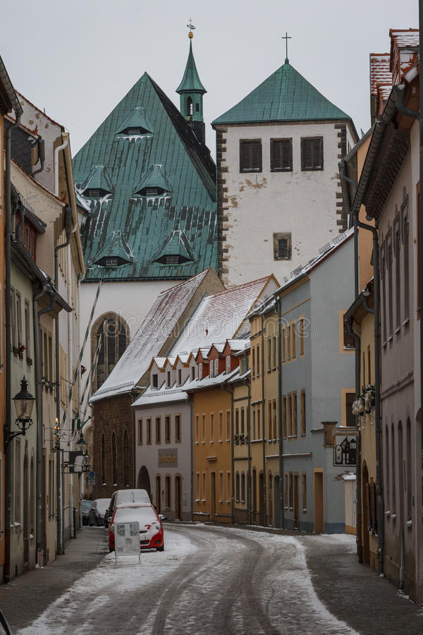 Rua do inverno de Freiberg fotografia de stock
