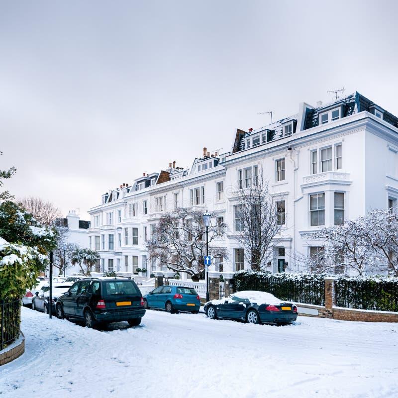 Rua do inverno, Londres - Inglaterra imagens de stock