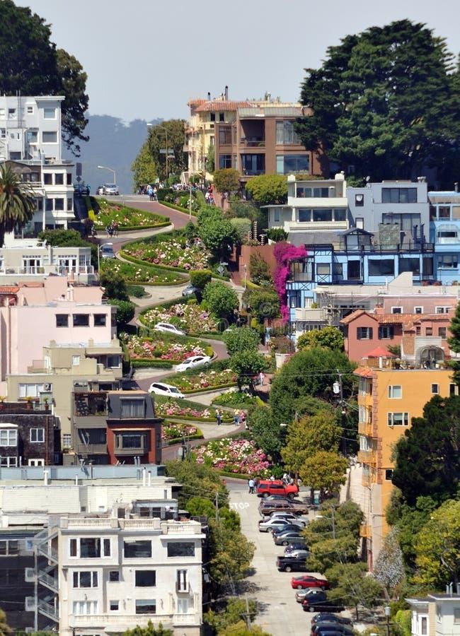 Rua do Lombard em San Francisco, Califórnia foto de stock