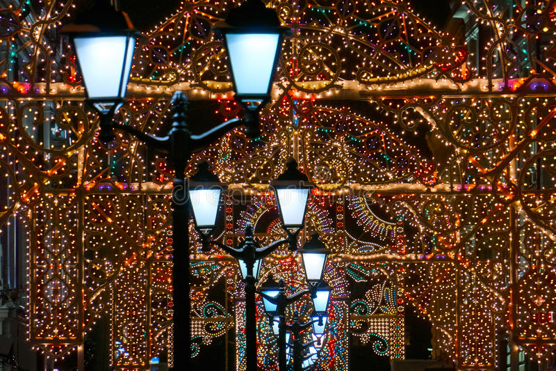 Rua do Natal em Moscou foto de stock