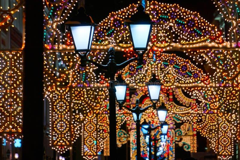 Rua do Natal em Moscou imagens de stock royalty free