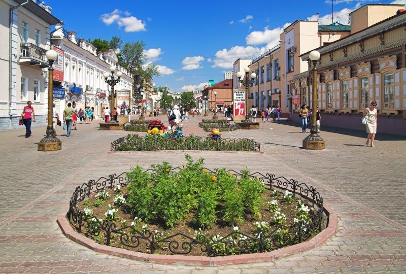 Rua do pedestre no centro de Ulan-Ude fotografia de stock royalty free