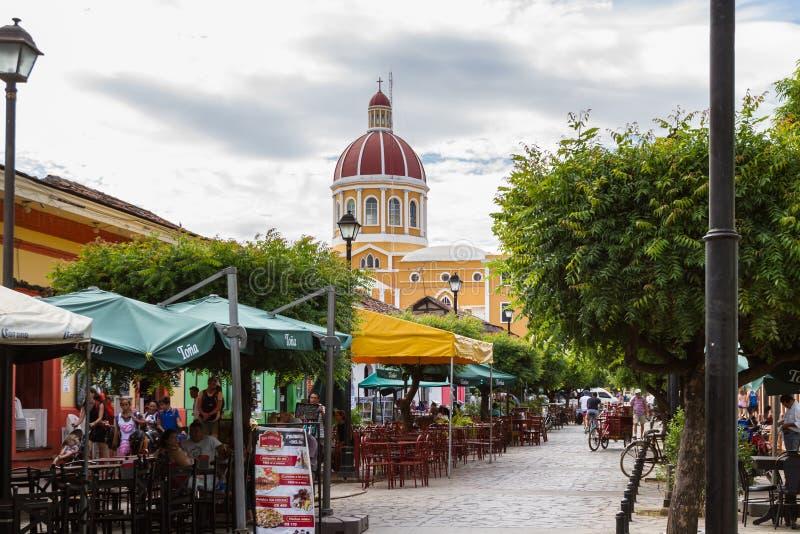 Rua do restaurante, La Calzada fotografia de stock