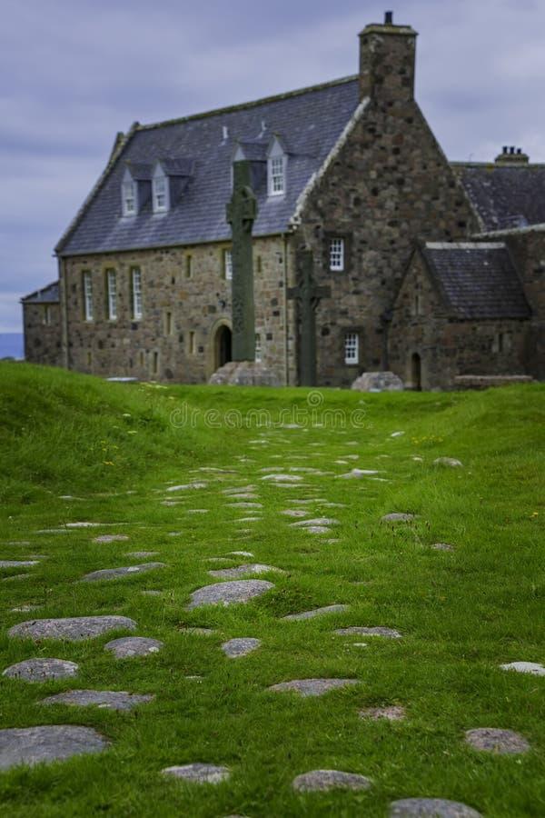 Rua dos mortos em Iona Abbey fotografia de stock