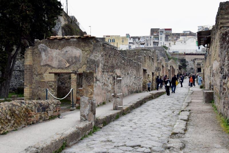 Rua e construções, local arqueológico de Herculaneum, Campania, Itália fotos de stock royalty free
