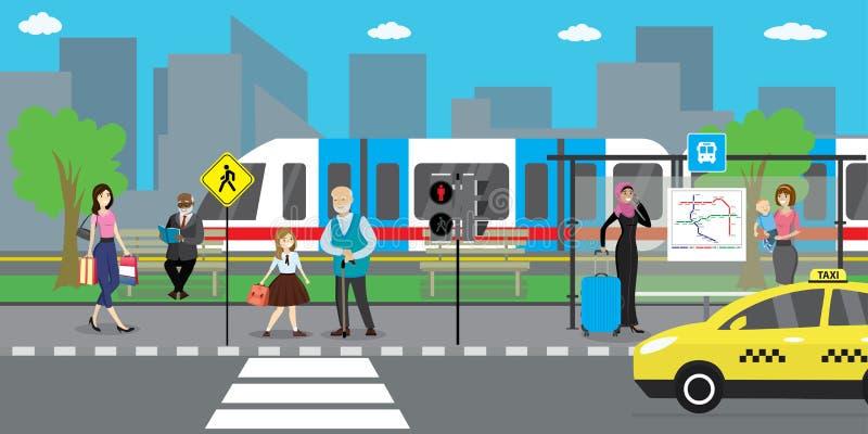 Rua e estrada da cidade, metro do transporte público e táxi ilustração royalty free