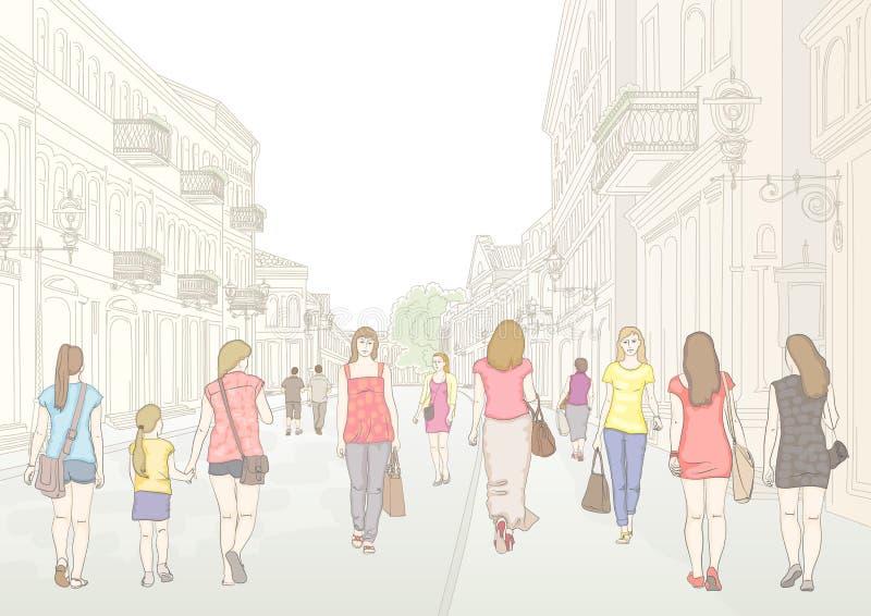 Rua e pedestres da cidade ilustração do vetor