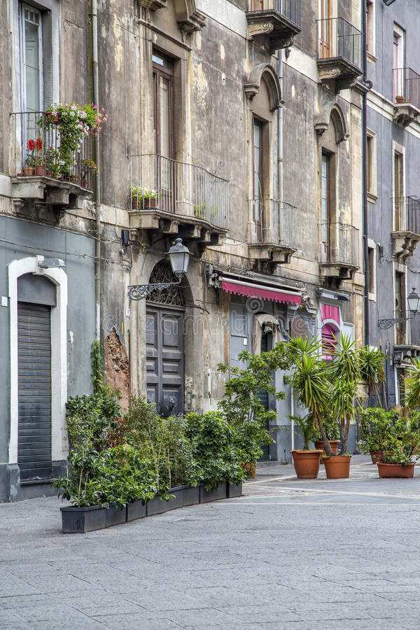 Rua em Catania, Itália fotografia de stock