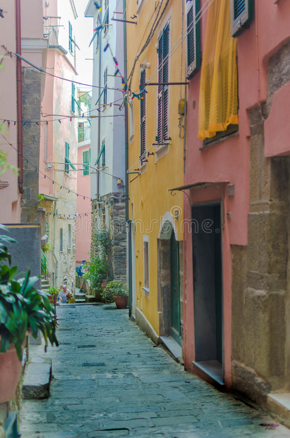 Rua em Cinque Terre Italy imagens de stock royalty free