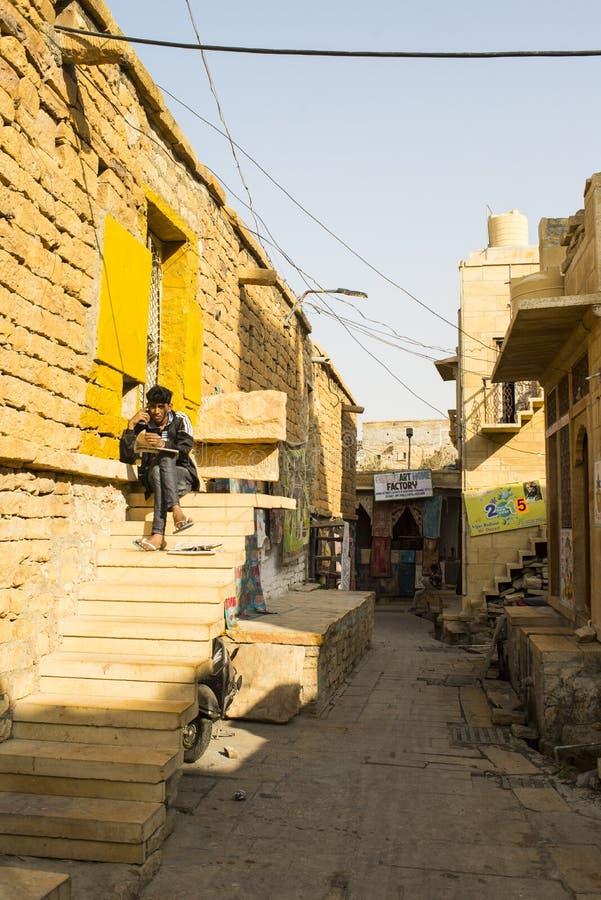 Rua em Jaisalmer fotografia de stock royalty free