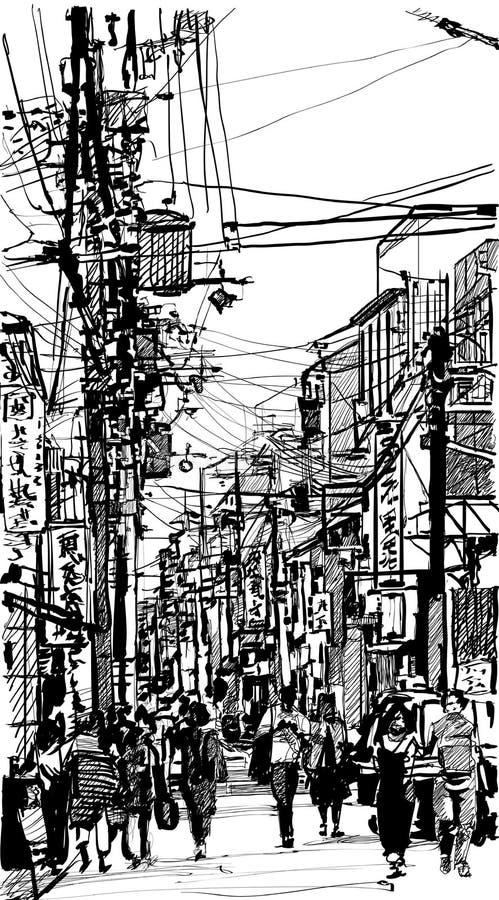 Rua em Japão ilustração do vetor