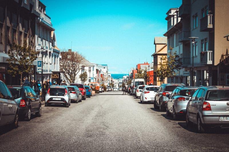 Rua em Reykjavik fotos de stock