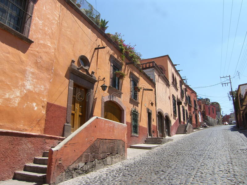 Rua em San Miguel de Allende imagens de stock