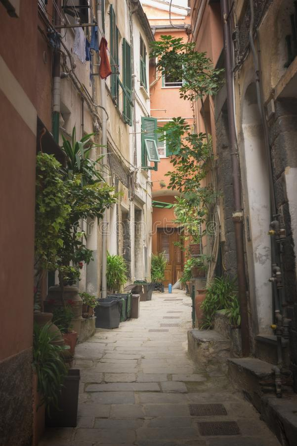 Rua em uma vila italiana tradicional Manarola foto de stock