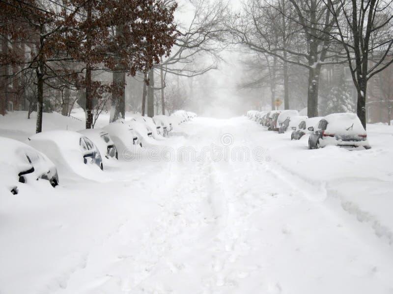 Rua em Washington During o blizzard imagem de stock