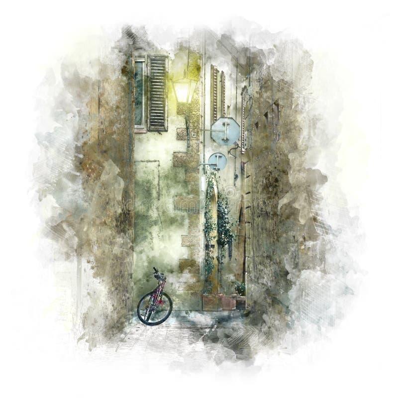 Rua europeia velha da cidade com bicicleta retro - arte ilustração stock