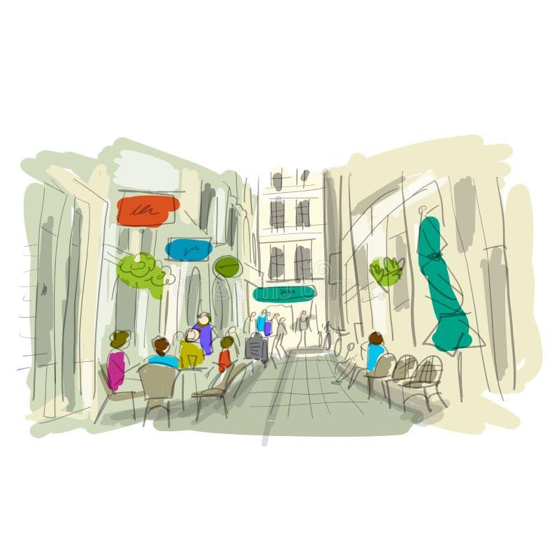Rua europeia velha, esboço para seu projeto ilustração do vetor