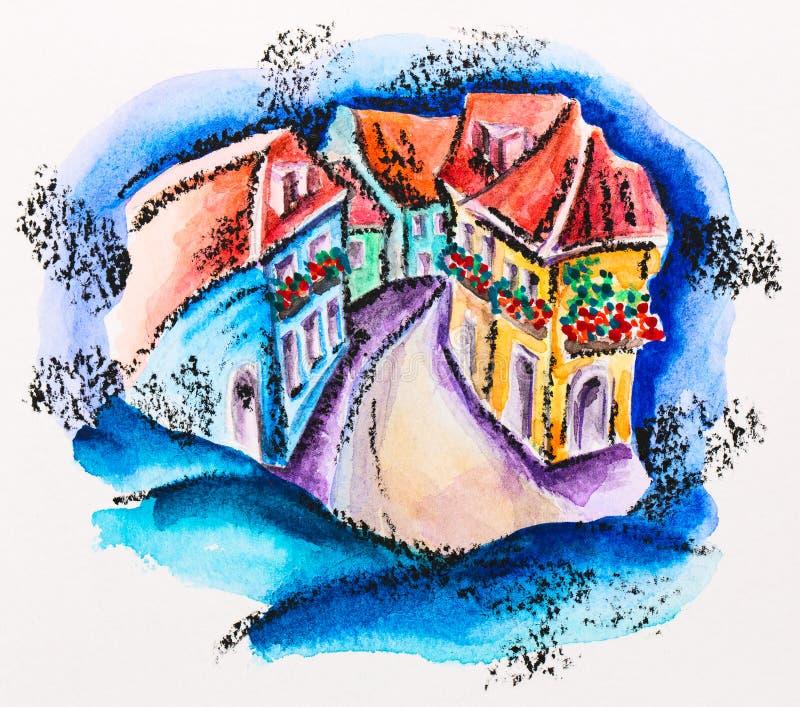 Rua feericamente da cidade com as casas florescidas do balcão foto de stock royalty free