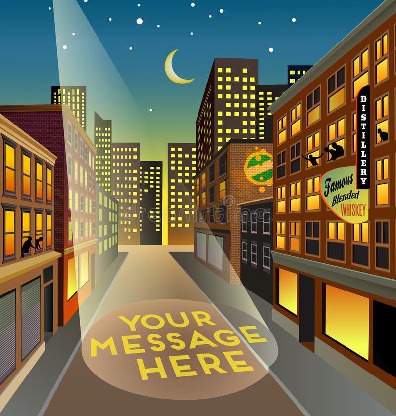 Rua fictícia da cidade na noite com espaço do holofote para sua mensagem ilustração royalty free
