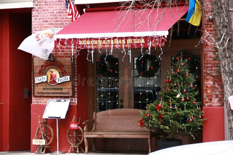 Rua fora do restaurante New York imagem de stock royalty free