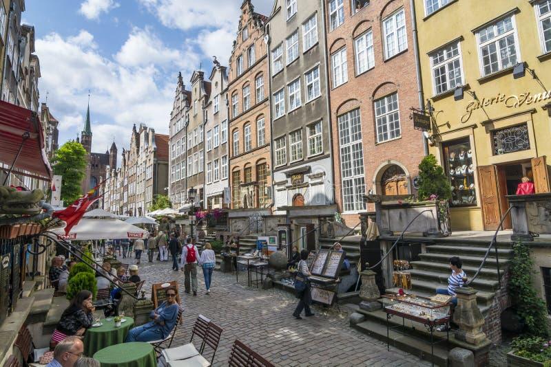 Rua Gdansk de compra ambarino de Mariacka imagem de stock royalty free