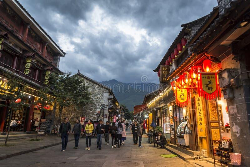 Rua histórica em Dali Old Town, província de Yunnan, China fotos de stock