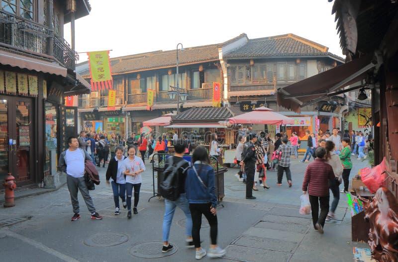 Rua histórica Hangzhou China de Qing He Fang imagens de stock royalty free