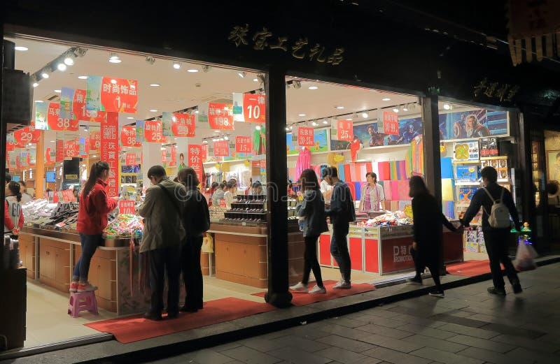 Rua histórica Hangzhou China de Qing He Fang fotografia de stock