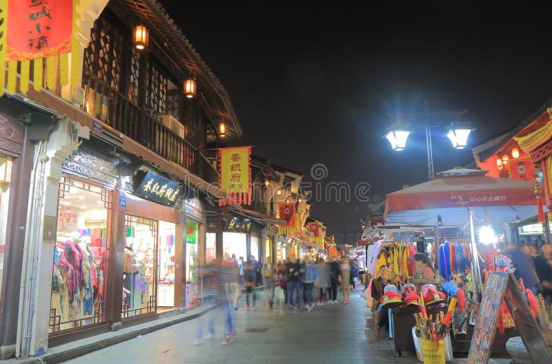Rua histórica Hangzhou China de Qing He Fang fotos de stock