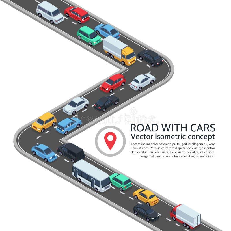 Rua isométrica com carros conceito do vetor da estrada 3d e dos veículos ilustração do vetor