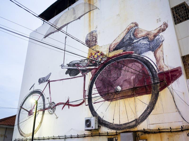 Rua maciça Art Mural em Georgetown, Penang, Malásia imagens de stock royalty free