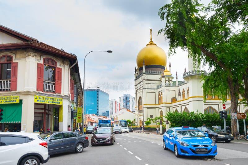 Rua Masjid Sultan Mosque de Singapura imagens de stock