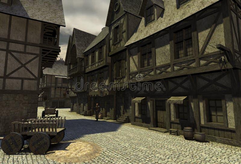 Rua medieval ilustração royalty free