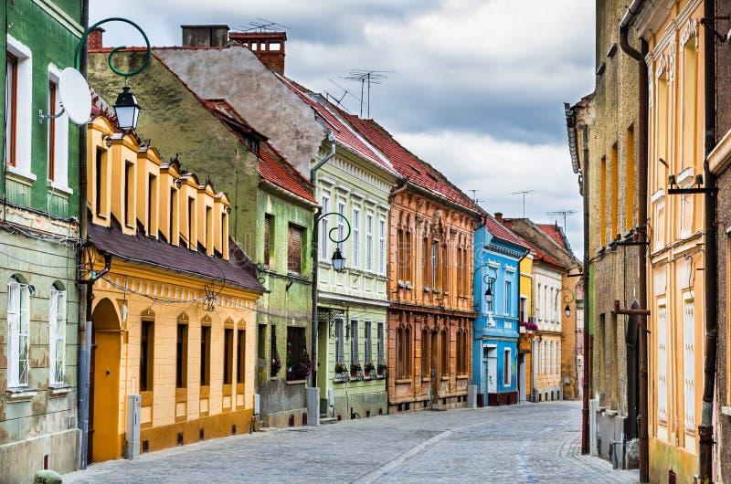 Rua medieval em Brasov, Romania fotografia de stock