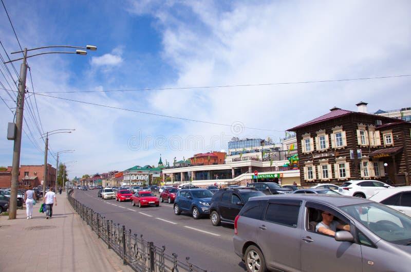 Rua na área de Irkutsk Sloboda 130 quartos, Rússia fotos de stock royalty free