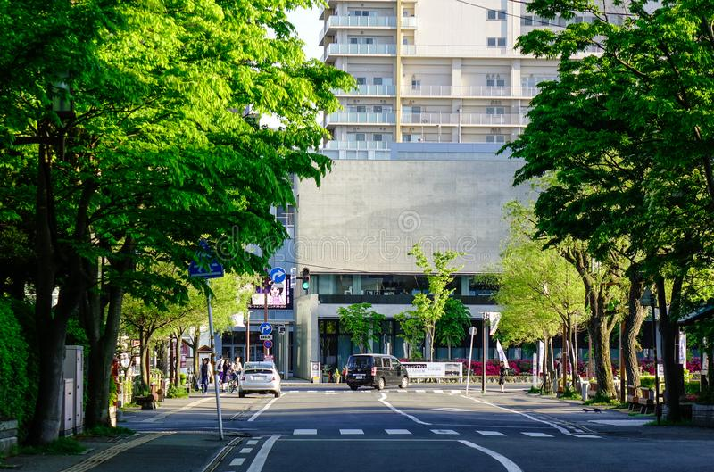 Rua na baixa em Akita, Japão imagens de stock