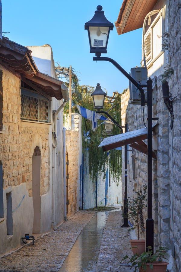 Rua na cidade de Zefat (Safed), Israel norte imagens de stock