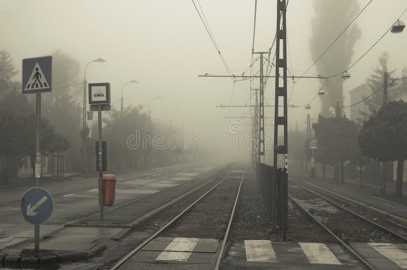 Rua na névoa foto de stock