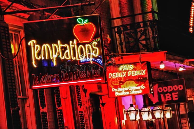 Rua Nova Orleães de Bourbon - campo de jogos adulto fotografia de stock