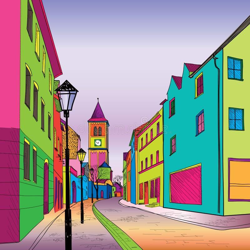 Rua pedestre na cidade velha. Perspectiva do esboço.