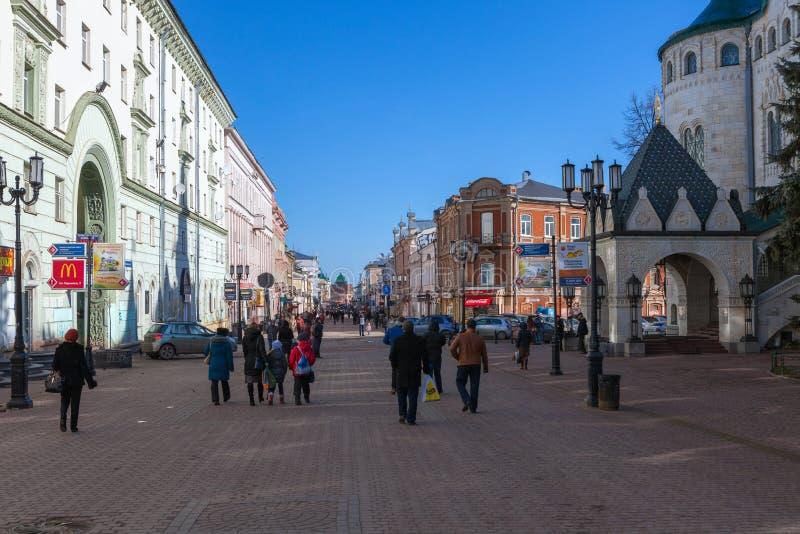 A rua pedestrial em Nizhny Novgorod fotos de stock royalty free