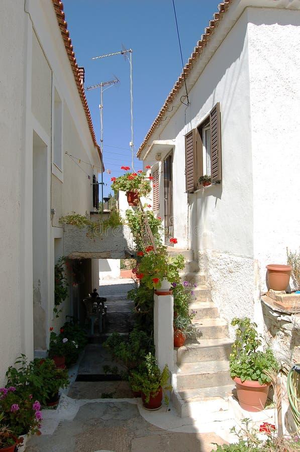 Rua pequena em Greece fotografia de stock