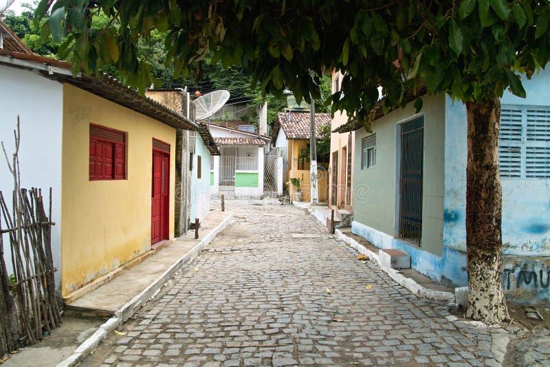 A rua pequena, Praia faz Pipa.Brazil fotografia de stock