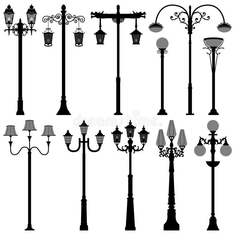 Rua PoleLight do Lamppost do borne da lâmpada ilustração do vetor