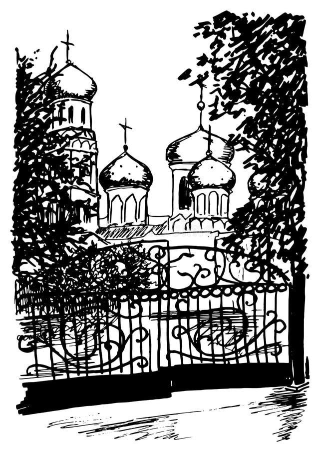 A rua preto e branco monocromática da igreja esboçou o vetor da arte ilustração stock