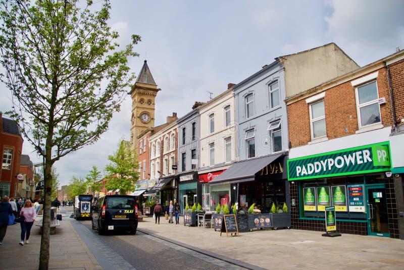 Rua principal em Preston fotos de stock royalty free