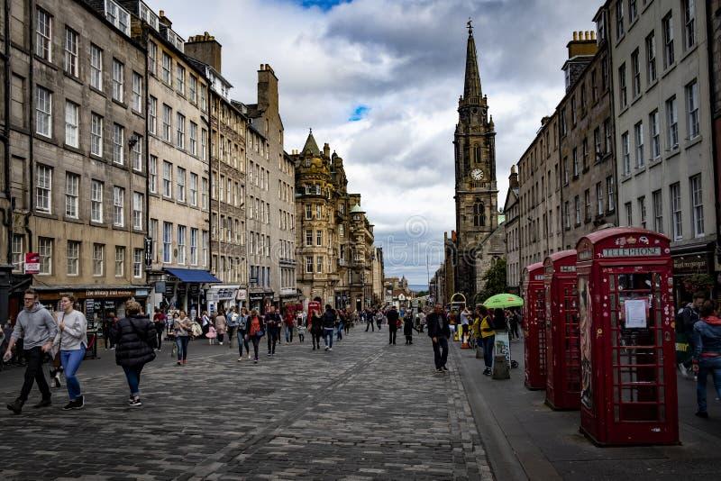 Rua real Edimburgo Escócia Reino Unido da milha imagens de stock